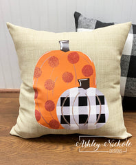 "18"" Custom - Pumpkins Orange and Buffalo Check Pillow"