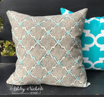 "18"" Outdoor Pillow-Grey & Turquoise (Eaton Screen Rainstorm)"
