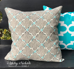 "18"" Outdoor Pillow-Grey and Aqua/Light Turquoise"
