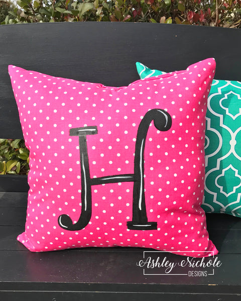 "18"" Custom - Initial Pillow Hot Pink/White Dot"
