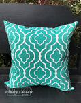 "18"" Outdoor Pillow-Starlet Night Turquoise & White"
