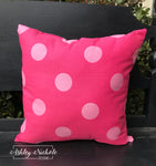 "18"" Outdoor Pillow-Hot Pink/Light Pink Dot"