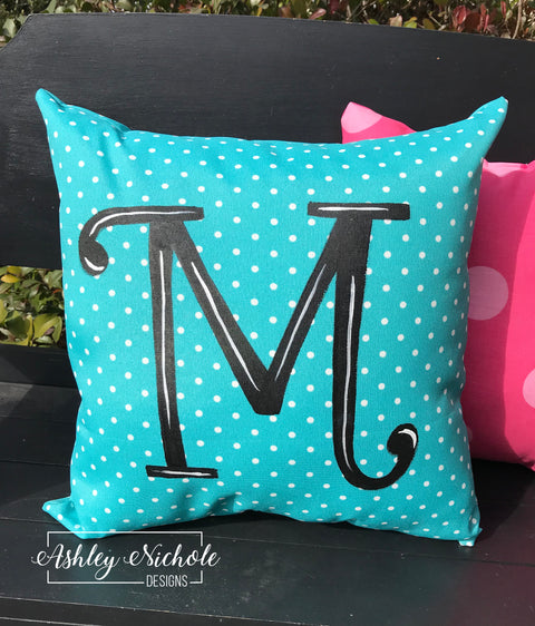"18"" Custom - Initial Pillow Turquoise/White Dot"