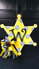 Sheriff Badge-Polka Dot Door Hanger