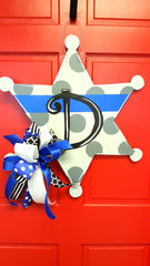 Sheriff Badge Blue Line Polka Dot Door Hanger