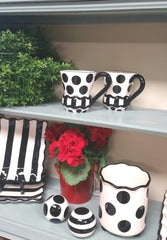 BLACK Stripe/Dot Salt and Pepper Set