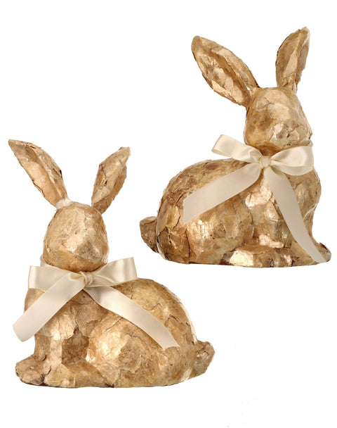 Faux Capiz Bunny with Ribbon - (1 bunny)