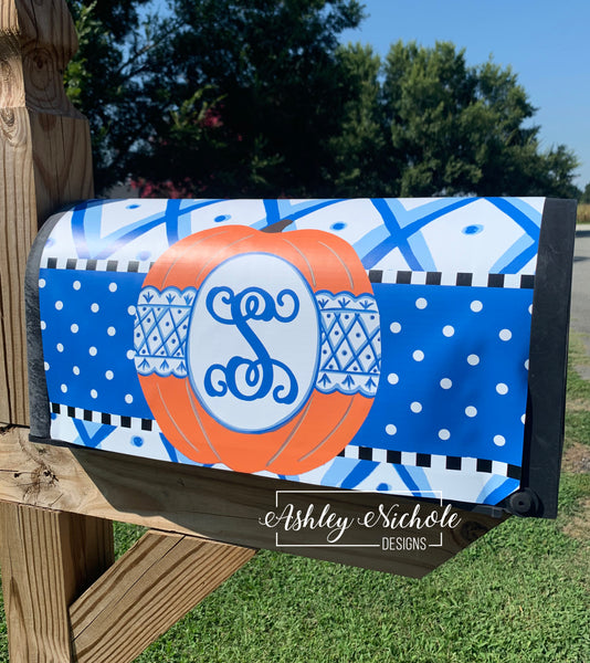 Chinoiserie Pumpkin Vinyl Mailbox Cover (Blue & White)
