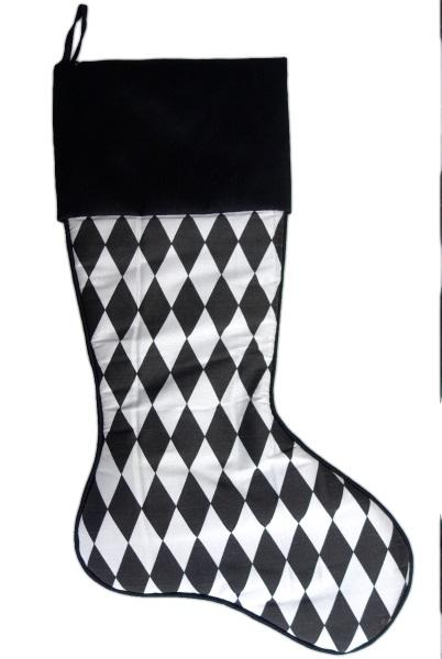 Black and White Harlequin Christmas Stocking