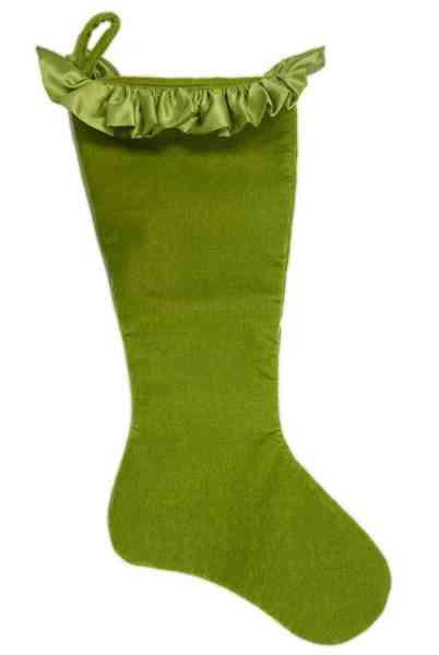 Stocking - Velvet with Taffeta Ruffle, Bright Green