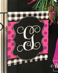 Buffalo Check and Polka Dot (PINK & PURPLE) Initial Garden Vinyl Flag