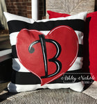 "18"" Custom-Heart with Black and White Stripes Pillow"