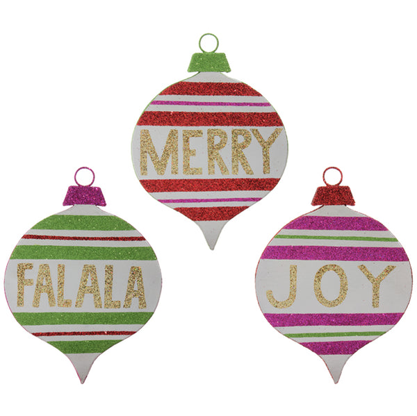 Ornament-FALALA, MERRY or JOY-11""