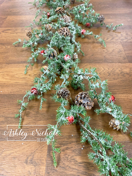 4.5' Frosted Glitter Pine with Jingle Bells Garland