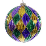 "Ornament Ball- 4.75"" Purple Gold Green Diamond"