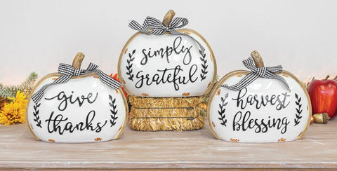 Large - Gingham Bow Fall Pumpkin Tabletop Decor - Choose from 3 Designs