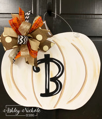 Pumpkin Distressed - White Neutral - Door Hanger