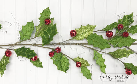 4' Glitter Holly & Berry Garland