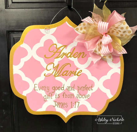 Plaque Pink Baby Door Hanger