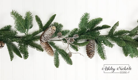 5' Noble Fir with Frosted Cones Garland