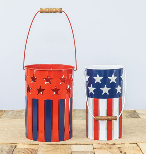 American Flag Slatted Bucket Set of 2