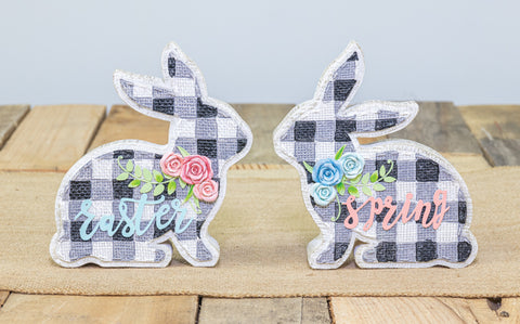 Black Gingham Easter or Spring Tabletop Bunny - Choice of 2 Styles