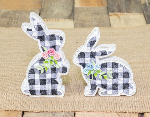 Black Gingham Bouquet Tabletop Bunny - Choose from 2 Styles
