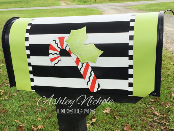 Candy Cane Vinyl Mailbox Cover