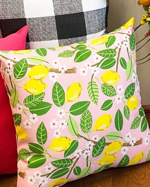 "18"" Custom Lemon Tree Blush Pillow"