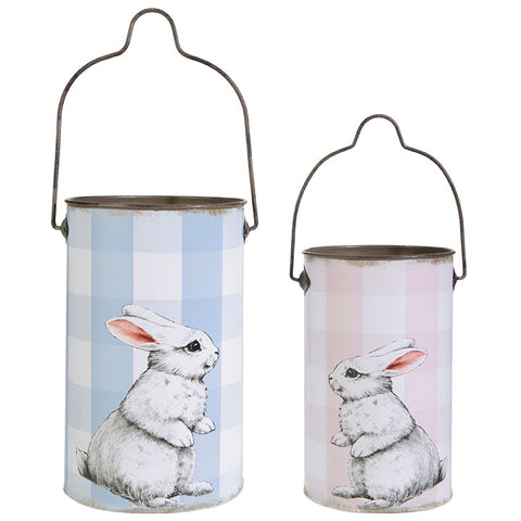 Bunny Buckets in Pink or Blue Buffalo Check