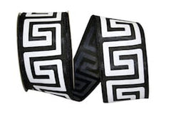 20 yards - Greek Key Ribbon - Black - Wired Edge
