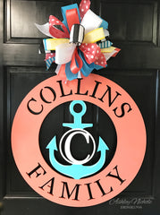 Anchor Family Name Monogram Door Hanger