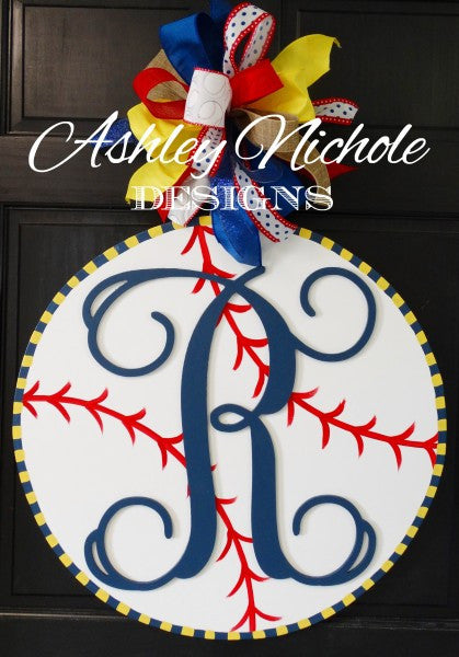Baseball with Monogram Door Hanger