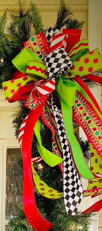 Christmas - Front Porch Bow-Large Streamer