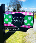 Buffalo Check Pink and Green Vinyl Mailbox Cover - Welcome Spring