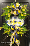Buffalo Check Welcome Plaque Everyday Wreath - NAVY, Yellow & White
