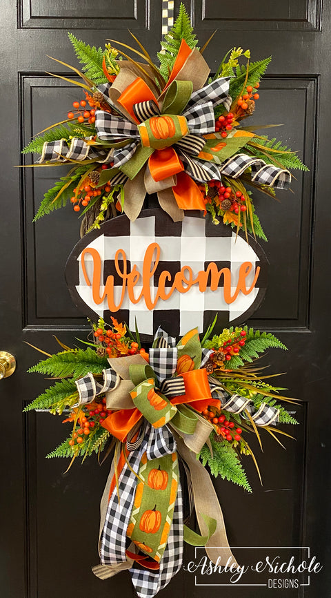 Buffalo Check Welcome Plaque FALL Everyday Wreath - Orange, Burlap Black & White