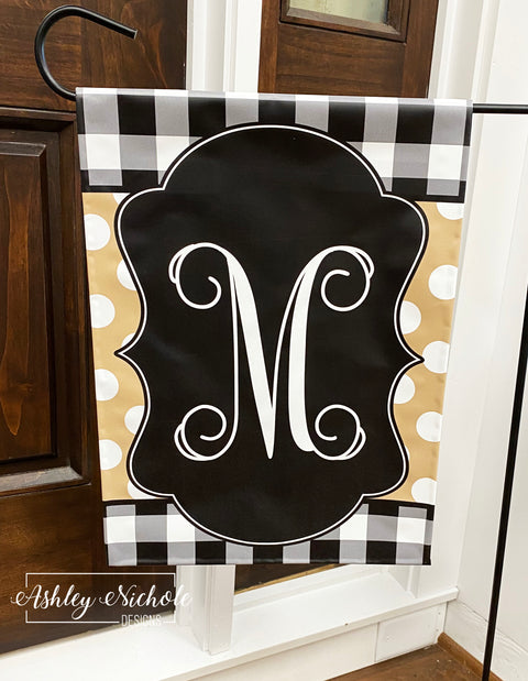 Buffalo Check (Black/Tan) Initial Garden Vinyl Flag