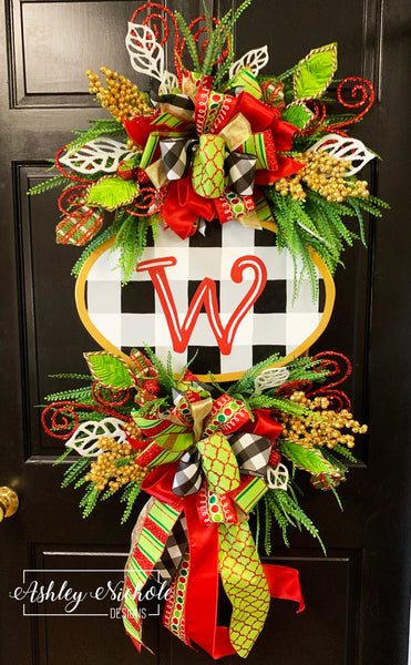 Buffalo Check Initial Plaque Wreath