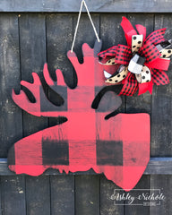 Buffalo Check Moose Door Hanger