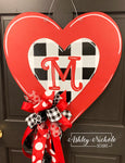 Buffalo Check RED Heart Door Hanger