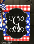 Buffalo Check (Red/Royal) Patriotic Initial Garden Vinyl Flag