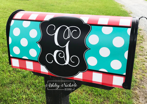 Buffalo Check and Polka Dot (Turquoise and Red) - Mailbox Cover