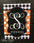 Buffalo Check and Polka Dot Initial and or Last Name Garden Vinyl Flag