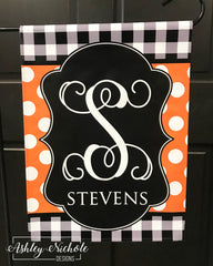 Buffalo Check and Polka Dot (Orange & Black) Initial Garden Vinyl Flag