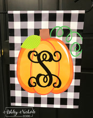 Buffalo and Pumpkin Initial Garden Vinyl Flag