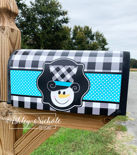 Snowman Head Buffalo Check Hat  Vinyl Mailbox Cover