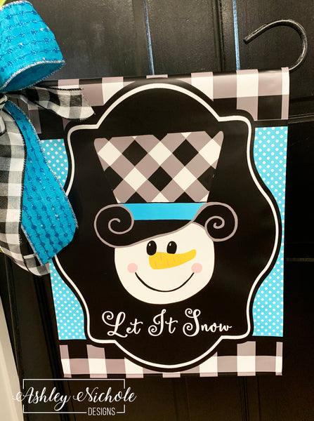 Snowman Buffalo Check Hat  Vinyl Garden Flag