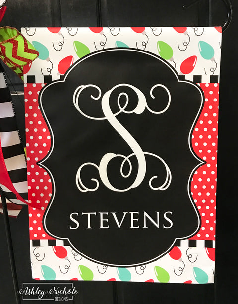 Bulbs and Dots Initial Name Garden Vinyl Flag