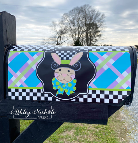 Bunny - Checkered Top Hat Mailbox Cover